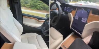 Mann lässt seinen Tesla allein auf Autobahn fahren