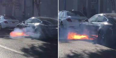 Tesla ging einfach in Flammen auf