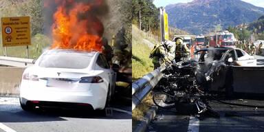 Tesla brannte in Tirol komplett aus