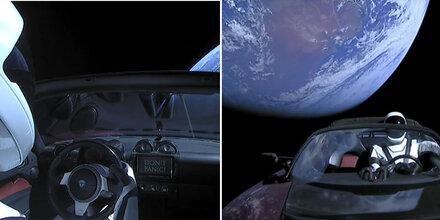 Hier fliegt der Tesla Roadster im All