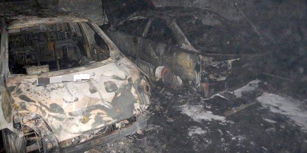 Autos gingen in Tiefgarage in Flammen auf