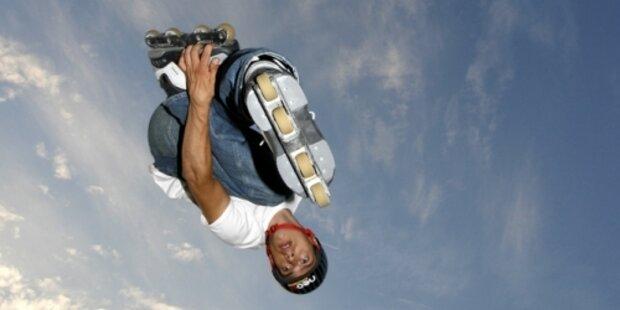 Auf Rollerblades 29 m durch die Luft