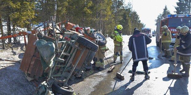 Auto kollidierte mit Kutsche - Mehrere Verletzte