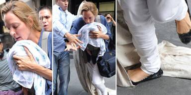 Uma Thurman: Beinahe-Sturz mit Baby im Arm