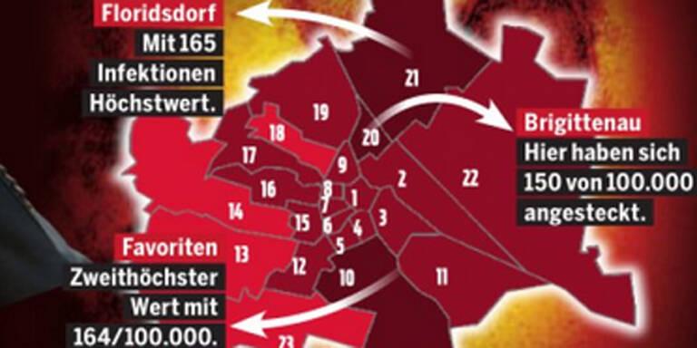 Die Corona-Zahlen aller Bezirke Wiens