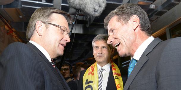 LH Günther Platter (l.), BM Karlheinz Töchterle (r.) und ÖVP-Bundesparteiobmann VK Michael Spindelegger