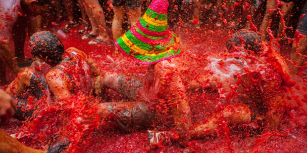 Wilde Tomatenschlacht in Spanien