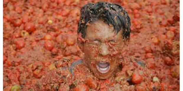 Tomatenschlacht in Kolumbien