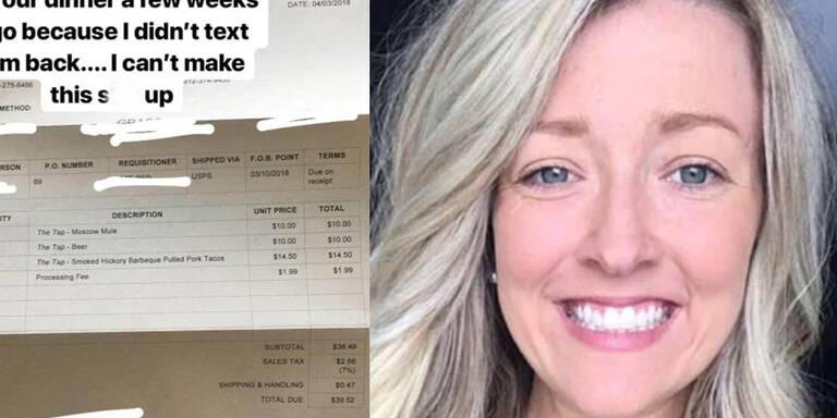 Frau bekommt Rechnung für Date