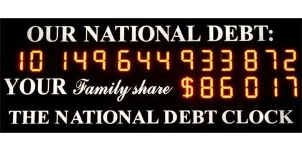Schuldenuhr in New York gehen die Stellen aus