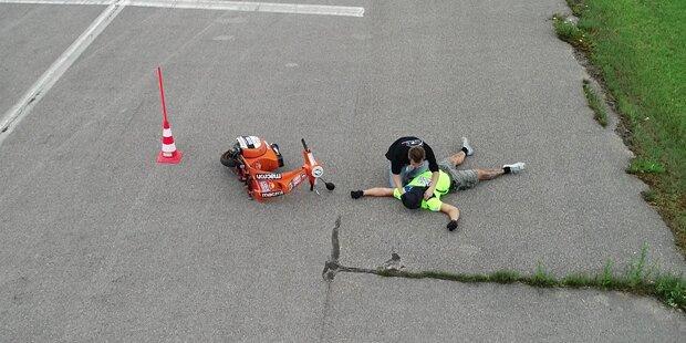 Biker crashen in der Luft: Weltrekord-Versuch endet mit Unfall