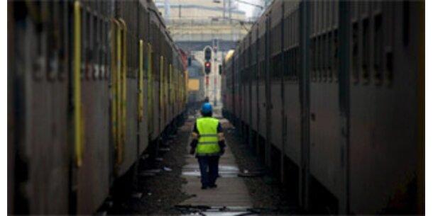 Eisenbahner pausieren beim Streik