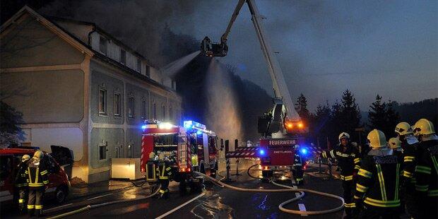 Flüchtlingsheim in Brand: Großeinsatz