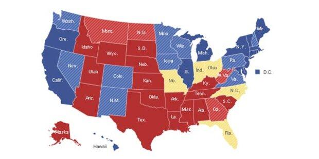 In diesen Staaten wird die Wahl entschieden