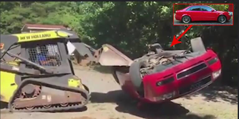Vater walzte Audi seiner Tochter platt