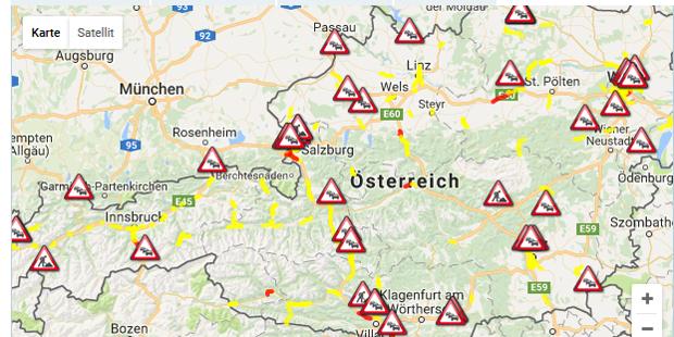 Stau Karte.Stau Chaos In Ganz österreich