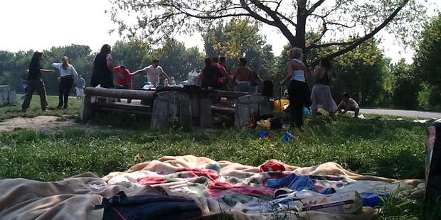 Amateurfilmer filmt Grillschlägerei