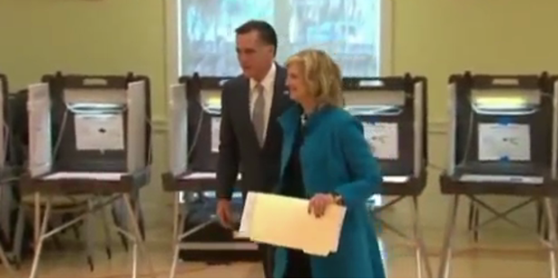Romney mit Frau Ann bei der Stimmabgabe