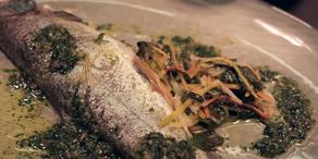 Fisch mit Spinat und Rollgerstenrisotto