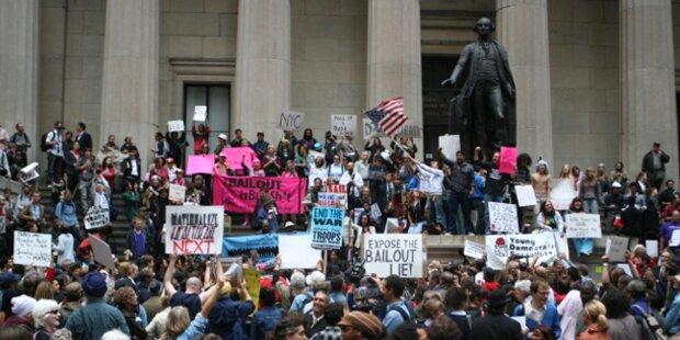 Proteste vor Großbank in New York