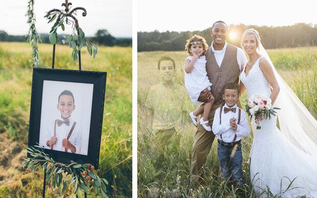 Mutter ehrt ihren toten Sohn mit ihren Hochzeitsbildern