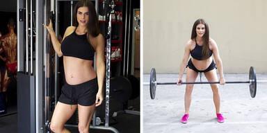 Sie hebt trotz Zwillingsbauch Gewichte!