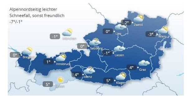 Alpennordseitig leichter Schneefall, sonst freundlich -7°/-1°