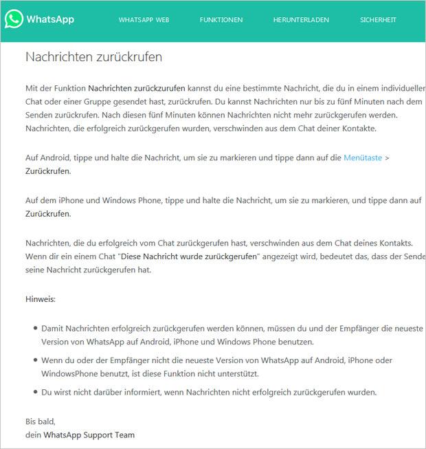 Whatsapp Nachrichten Bald Zurückholbar