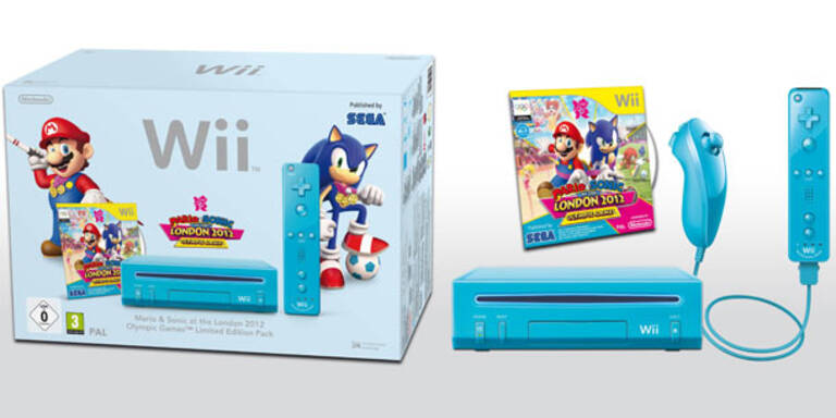 Blaues Nintendo Wii-Bundle mit Mario & Sonic