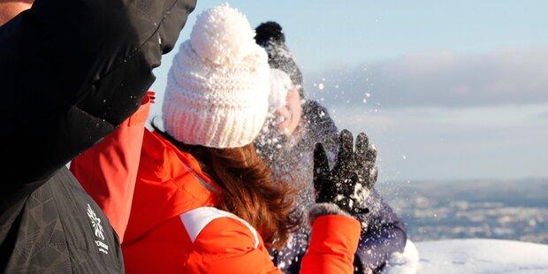 Kate: Schneeball-Attacke auf William