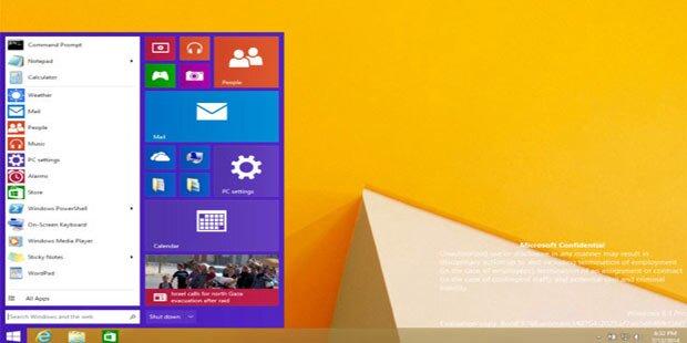 Windows 9: Foto zeigt Startmenü