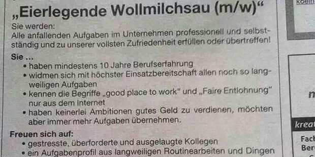 Irre Anzeige für härtesten Job der Welt
