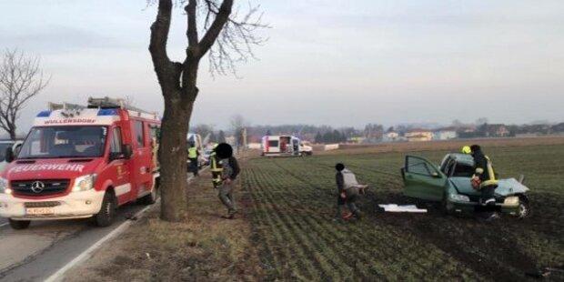 Mutter krachte auf Weg ins Krankenhaus in Baum - tot