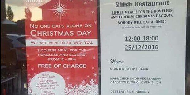 Muslimisches Lokal lädt Einsame zu Weihnachtsessen ein