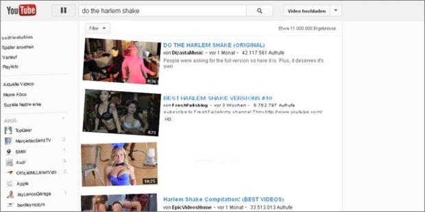 Youtube-Webseite tanzt den Harlem Shake