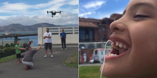 Neffen einen Zahn mit Drohne gezogen