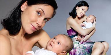 Adriana Zartl mit Baby Sohn Luca